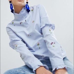 ASOS Boohoo High Neck Embroidered Blouse